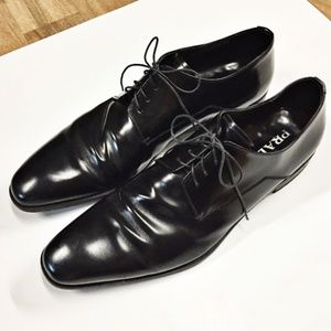 PRADA Black Lace Up Dress Business Oxford Shoes